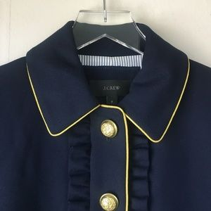 J. CREW Navy Lady Jacket With Ruffles Sz 6